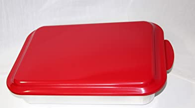 Nordic Ware 9x13 metal cake pan natural aluminum commercial bakeware with a baked enamel colored lid (red)
