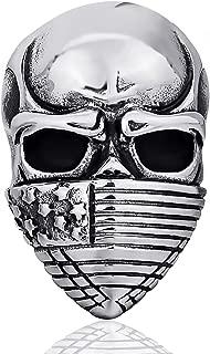 Elfasio Men's Stainless Steel Ring American Flag Mask Skull Gothic Biker Jewelry (Size 7 to 15)