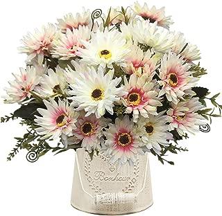 Artificial Chrysanthemum Flowers, Vintage Silk Herbaceous Daisy Fake Sunflowers Bouquet Home Bridal Wedding Hotel Office Party Garden Centerpieces Arrangements Simulation Craft Decoration White 4pcs