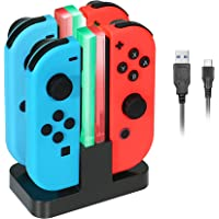 KINGTOP Charger Station for Nintendo Switch with Individual LEDs Indicator and Type C Charging Cable