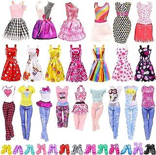 25 مجموعة من اكسسوارات ملابس الدمى، 5 قطع ملابس، 5 تنانير حفلات، 5 فساتين صغيرة، 10 احذية، لعيد ميلاد باربي للفتيات