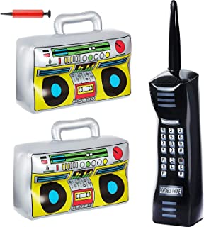 Inflatable BoomBox & Inflatable Mobile Phone Toy Set - 3 Count - Inflatable Boom Box Inflatable Phone Props - 80's 90's Party Decorations for Rappers Hip Hop Costume Accessory Party Supplies
