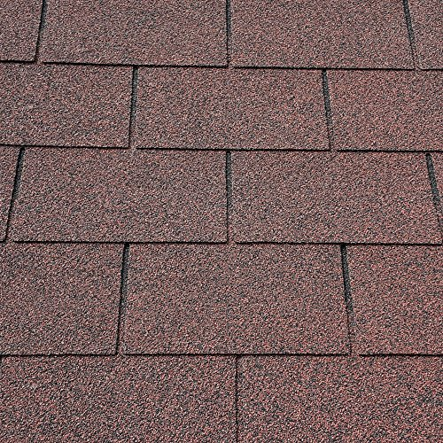 Red Square Butt 4 Tab Roofing Felt Shingles Shed Roof Tiles with Free Nails & Felt Lap Adhesive