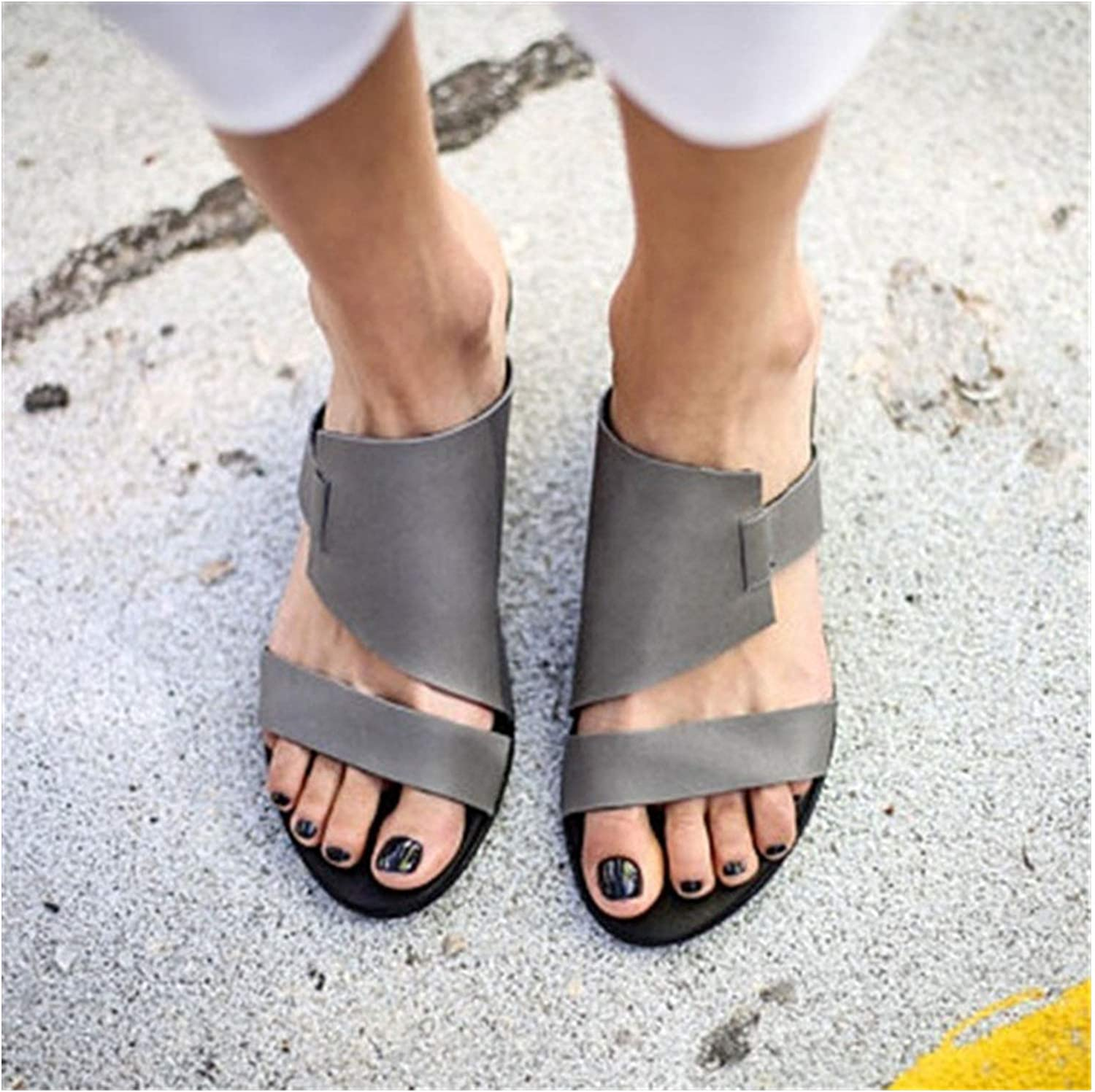 Longbao Design Vintage Women Sandals 2019 New Flats shoes Woman Fashion Pu Leather Slippers