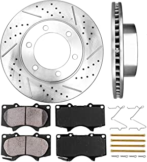 Callahan CDS02019 FRONT 318.77 mm Premium D/S 6 Lug [2] Brake Disc Rotors + [4] Ceramic Brake Pads + Hardware
