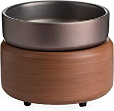 CANDLE WARMERS ETC 2-in-1 Candle and Fragrance Warmer for Warming Scented Candles or Wax Melts and Tarts with to Freshen Room, Pewter Walnut