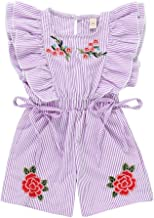 Youmymine Toddler Kids Baby Girl Sleeveless Bodysuit Embroidery Striped Flower Rose Jumpsuit Romper Clothes