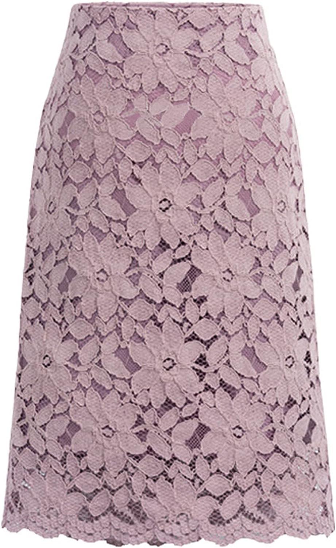 DXYDSC Womens Lady Plain Slimming Elastic Sport Casual Plaid Stretch Lace High Waist Skirt