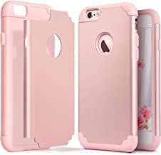 IDWELL iPhone 6 Plus Case, iPhone 6S Plus Case, Slim Fit [ Dual Layer Series ] Soft Silicone & Hard Back Cover Bumper Protective Shock-Absorption & Skid-Proof Anti-Scratch Cover, Rose Gold