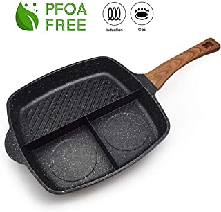 FRUITEAM 3 Section Meal Skillet Fast Cook Breakfast Pan 3-in-1 Grill Pan Stone & Ceramic Nonstick Frying Pan, Section Divided Aluminum Cooker Pan, Induction Fry Pan, 1 Year Warranty