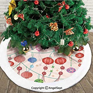 Colorful New Year Chinese Lanterns Celebration Holiday Artwork,Christmas Tree Skirt Mat,Orange Red Green,36 inches,Christmas Holiday Party Decoration