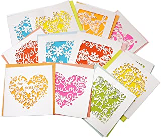 RayLineDo 12pcs Assorted Design and color Blank Greetings Cards with Envelopes Cutout Gift Card Folding Cards for Wedding, Graduation, Bridal and Baby Shower, Birthday, Valentine and Christmas