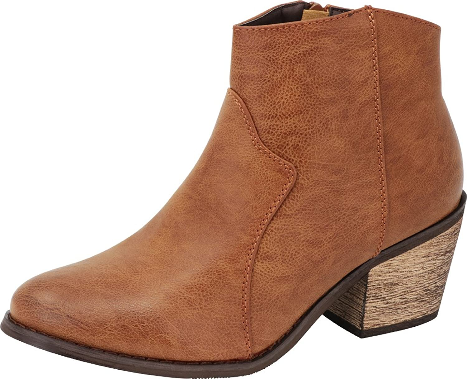 Cambridge Select Women's Closed Toe Western Cowboy Stitched Chunky Stacked Block Heel Ankle Bootie