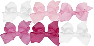 Girls' Mini Bow 6 pc Set Solid Grosgrain Variety Pack on a WeeStay Clip
