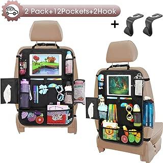 Car Seat Organizer-Backseat Car Organizer with Touchable Tablet Holder+12 Storage Pockets | 2 Bonus Hooks | Earphone Hole Design | 2 Backup Bags, Kick Mats Car Organizer Back Seat for Kids (2 Pack)