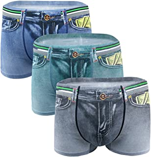 D DOLITY 3pc Men Denim Jeans Printing Boxers Trunks Pants Briefs Shorts Underwear 2XL