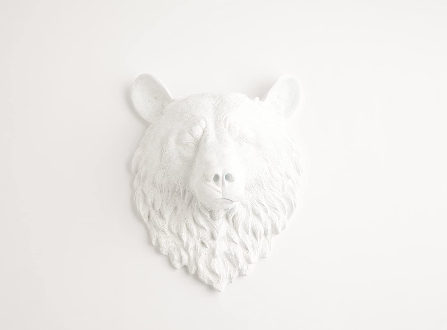 White Faux Taxidermy The Raleigh | White Resin Bear Head | Resin Hanging Wall Decor Sculpture | Animal Mounts | Trophy Taxidermy