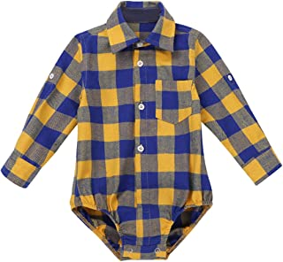 CHICTRY One Piece Baby Boys Long Sleeve Plaid Cotton Shirt Romper Bodysuit Casual Autumn Clothing