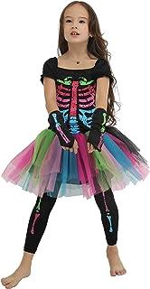 EraSpooky Girl's Halloween Skeleton Dress Costume Tutu Skirt Scary Cosplay