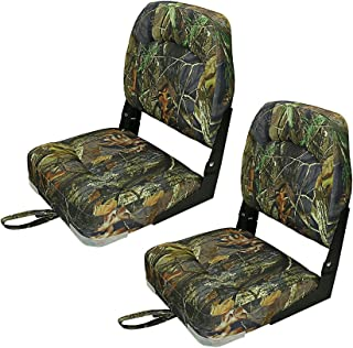 Premium Low Back Boat Seats Fold-Down Boat Accessories for Fishing/Hunting 4 Color (2 Seats)