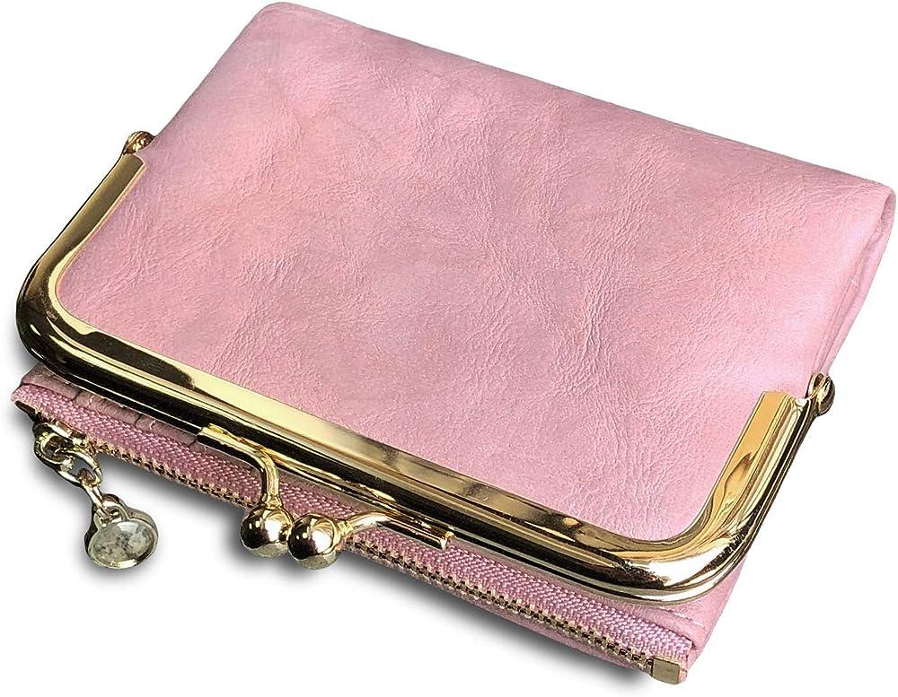 Pofee portafoglio da donna in pelle porta carte di credito con protezione QJ-00B