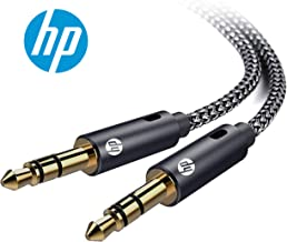 HP Pro Aux 3.5mm Male to Male Stereo Audio Cable, Dual Shielded Gold-Plated Nylon Braided, 10 Feet