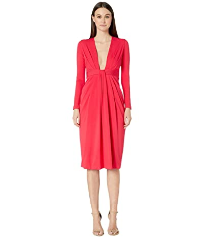 Cushnie Plunging Long Sleeved Dress with Rib Trim at Waist (Watermelon) Women