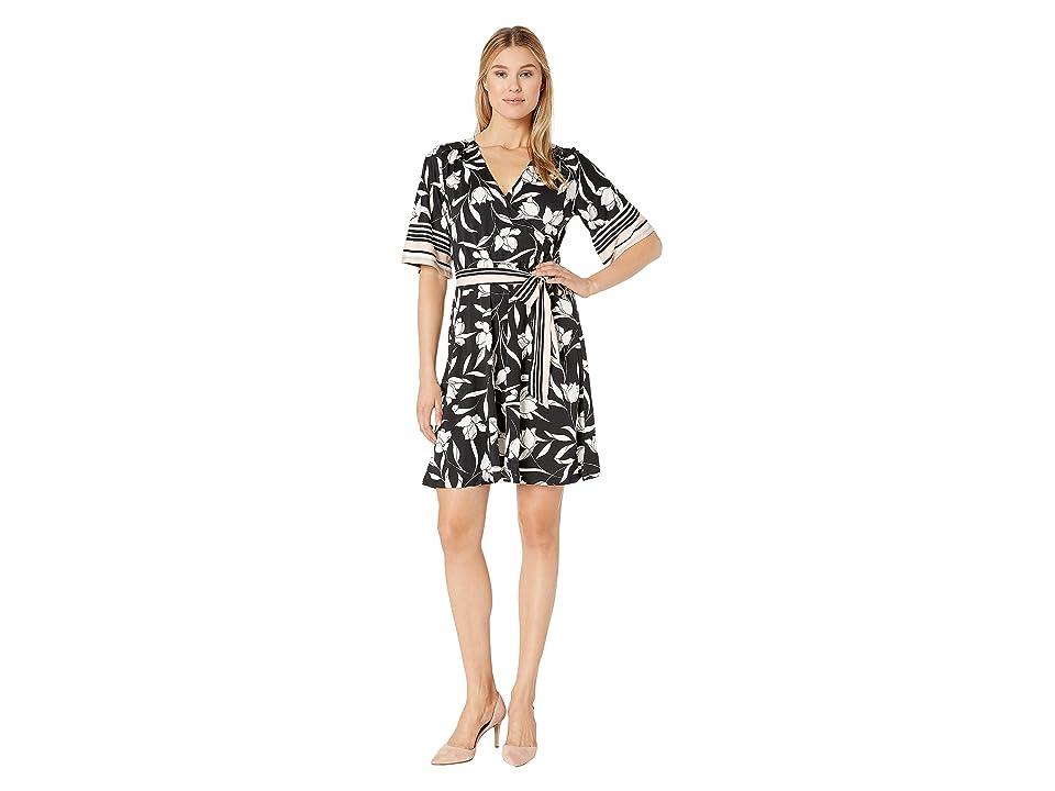 Bobeau Wrap High-Low Dress w/ Self Sash (Black/White Floral) Women