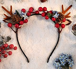 XLEIYI Christmas hairpin trinkets antlers headdress Sen Elf super fairy headband clip hair accessories hairpin headband (Color : D)