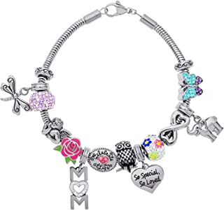 Connections from Hallmark Mom Themed Stainless Steel Bead and Charm Bundle Bracelet