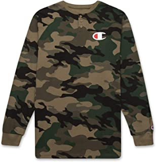 Champion Men's Big and Tall Thermal Long Sleeve Waffle Knit Henley Shirt for Men