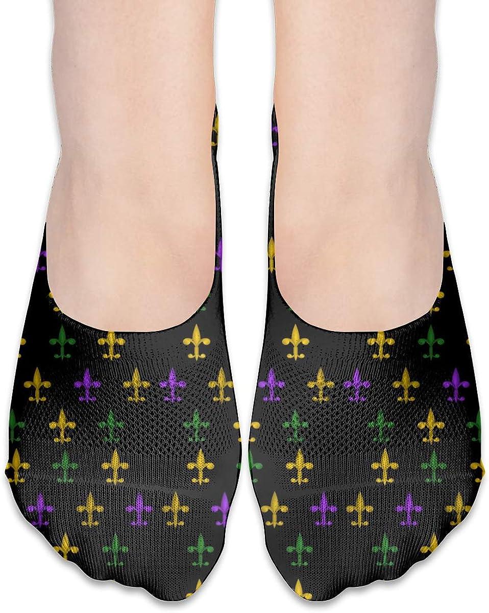 No Show Socks Women Men For Fleur De Lis Mardi Gras Flats Cotton Ultra Low Cut Liner Socks Non Slip