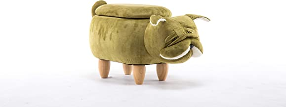Animal Shape Storage Ottoman Footrest Stool Sofa Chair with Storage Chest Toy 4 Wooden Legs for Kids or Adults, Fun Series...