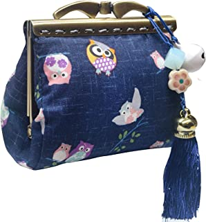 POPUCT Owl Kiss Lock Coin Purse Buckle Change Pouch Cloth Wallet for Women(owl Blue)