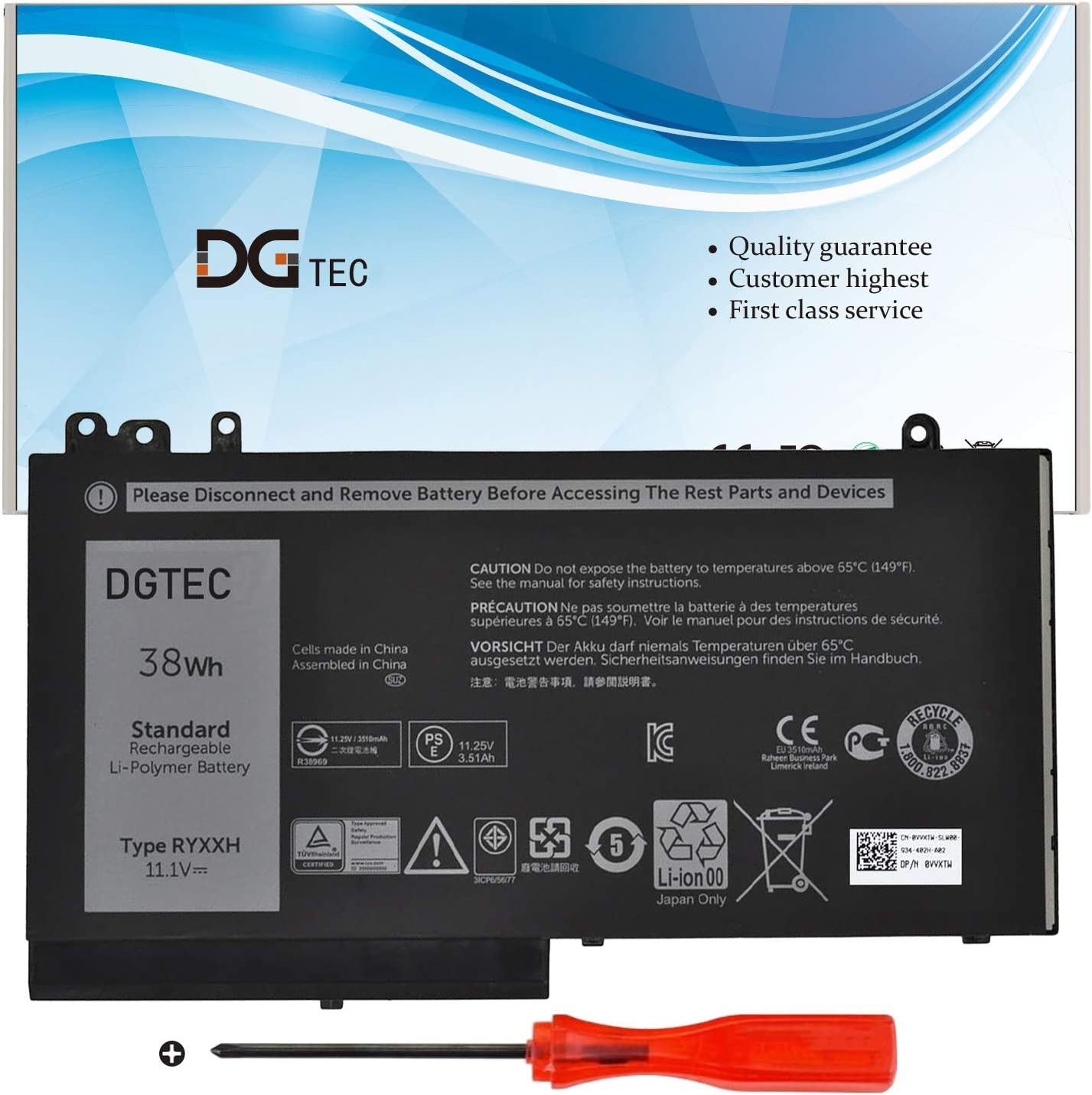 RYXXH Laptop High order Battery Replacement for Dell 12 Latitude 5000 E5250 All items free shipping