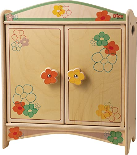 DIDA Puppenschrank aus Holz mit Garderobenstange für Puppen bis 35cm H - Dekoration  Blaumen