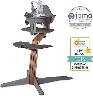 Nomi High Chair, Gray – Premium Walnut Wood, Modern Scandinavian Design with a Strong Wooden Stem, Baby through Teenager and Beyond with Seamless Adjustability, Award Winning Highchair