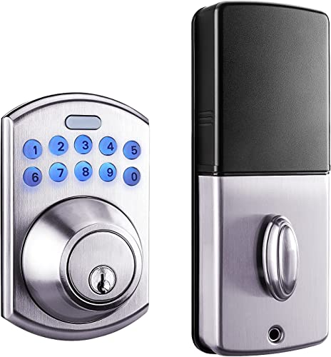 high quality Keypad new arrival Deadbolt Lock outlet sale with One-Touch Lock, Auto-Lock and One-time Passcode, Satin Nikel-EKPL1A online sale