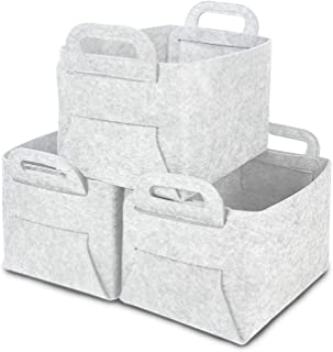 GOHOME Foldable Storage Baskets 3 Pack, Thickened Large Felt Baskets with Carry Handles, Closet Storage Bins for Clothes, Laundry, Books, Kids Toys and Pets Supplies - Light Grey