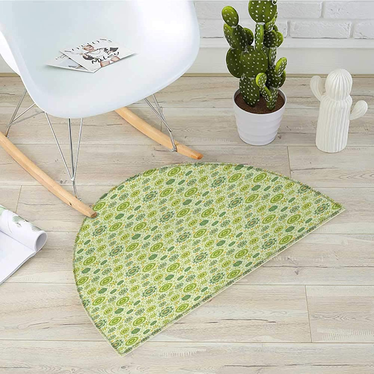 Floral Semicircle Doormat Abstract Flourish Inspired by Blossoming Nature of Gentle Spring Halfmoon doormats H 51.1  xD 76.7  Apple Green Cadet bluee Yellow