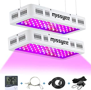 Missyee 2 Pack 600W LED Plant Grow Light with Thermometer Humidity Monitor, Adjustable Rope, Full Spectrum Double Switch Plant Light for Indoor Plants Veg and Flower, White - 600W (10W LEDs 60Pcs)
