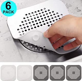 6 Pieces Sink Strainer, Shower Drain Covers Hair Catcher Tube Sink Strainer Filter Drain Stopper Protector for Bathroom Kitchen Bathtub (Silicone Square, Gray White)