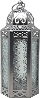 Vela Lanterns Moroccan Style Candle Lantern, Silver, Medium, Clear Glass