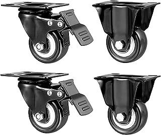 63 mm zwart zwenkwiel voor het verplaatsen van meubels (4 stuks), vaste zwenkwielen/zwenkwielen/rem/enkele zwenkwielbelast...