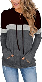 Women's Casual Color Block Hoodies Tops Long Sleeve Drawstring Pullover Sweatshirts with Pocket(S-XXL)