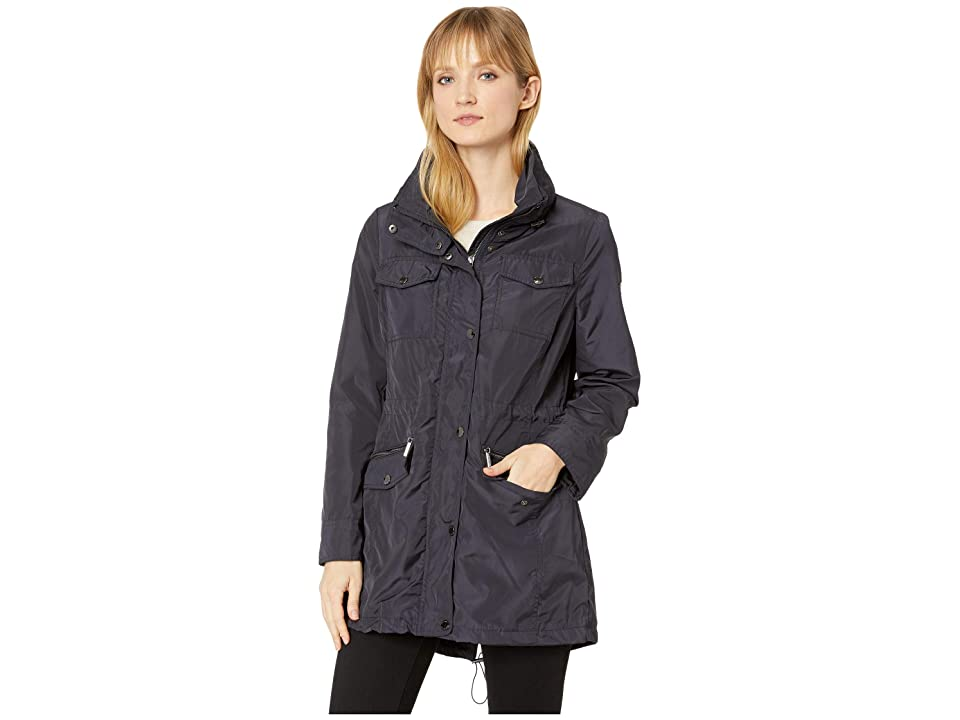 MICHAEL Michael Kors Snap Front Multi Pocket Rain Jacket M322930GZ (Navy) Women's Coat