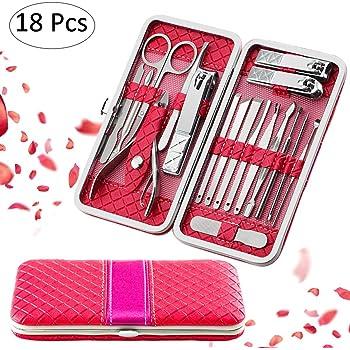 MINGZE Set de manicura, kit de pedicura, cortauñas, kit de aseo profesional, herramientas para uñas, removedor de cutícula: Amazon.es: Belleza