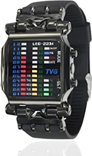 Cool Creative Funky Fashion Watch Black Men Boys PU Rubber Band Colorful LED Date Day Binary