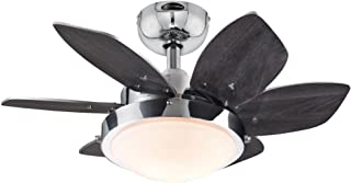 Westinghouse Lighting 7863100 Quince 24-Inch Chrome Indoor Ceiling Fan, Light Kit with..