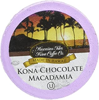Hawaiian Isles Kona Coffee Co. Kona Chocolate Macadamia Nut Single-Serve K-Cup Pods Compatible, Medium Roast, 10 Count